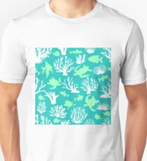 Blue lagoon. Seamless pattern with tropical motifs.  T-Shirt