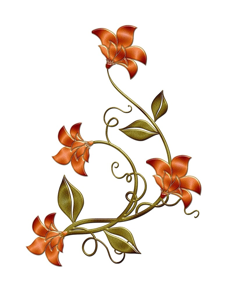 White Background Orange Lilies Floral Pattern by HavenDesign