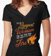 I'm an August woman Women's Fitted V-Neck T-Shirt