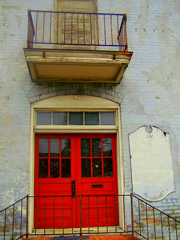 Old Red Doors and Balcony by suzannem73