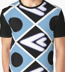 Geometric Shapes Black and White Graphic T-Shirt