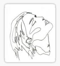 girl looking up (one lined) Sticker