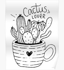 Cactus Lover Black and White - Home sweet home Poster