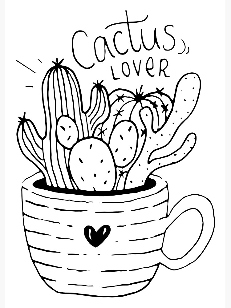Cactus Lover Black and White - Home sweet home by mirunasfia
