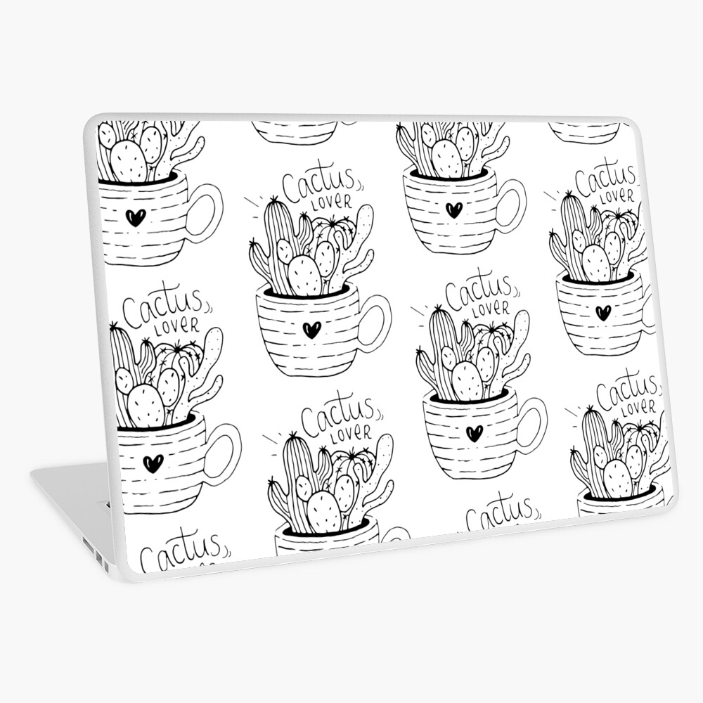 Cactus Lover Black and White - Home sweet home Laptop Skin