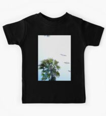 Dream-like Palm and Pelicans Flying Overhead Kids Tee