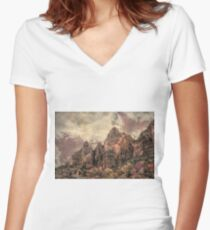 An Abstract of Zion Women's Fitted V-Neck T-Shirt