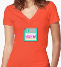 NSFW floppy Women's Fitted V-Neck T-Shirt