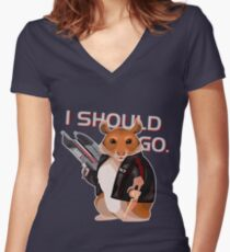 Space Hamster Mass Effect Women's Fitted V-Neck T-Shirt