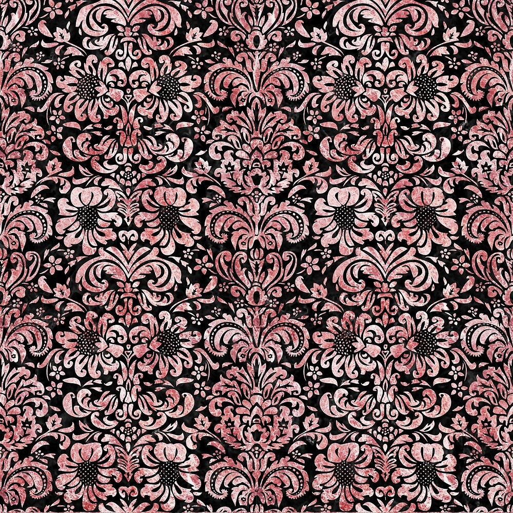 DAMASK2 BLACK MARBLE AND RED AND WHITE MARBLE by johnhunternance
