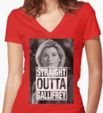 Straight Outta Gallifrey- Whittaker Women's Fitted V-Neck T-Shirt