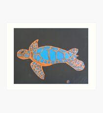 Majestic Sea Turtle Finger Painted MKART Art Print
