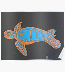 Majestic Sea Turtle Finger Painted MKART Poster