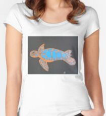 Majestic Sea Turtle Finger Painted MKART Women's Fitted Scoop T-Shirt