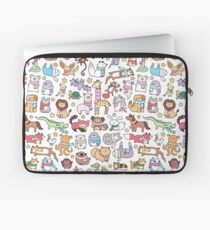 Winter Animals with Scarves Doodle Laptop Sleeve