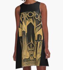 Metropolis, Fritz Lang, 1926 - Jahrgang Filmplakat, b & w A-Linien Kleid