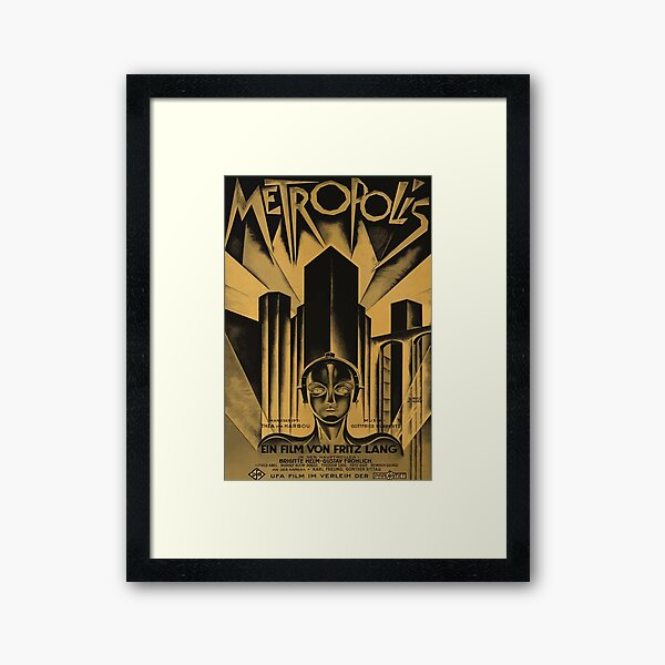 Metropolis, Fritz Lang, 1926 - vintage movie poster, b&w Framed Art Print