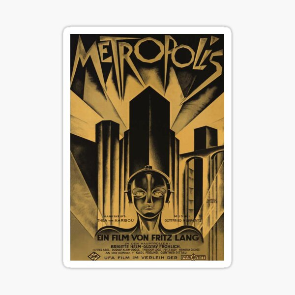 Metropolis, Fritz Lang, 1926 - vintage movie poster, b&w Sticker