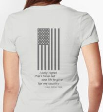Gray American Flag, I only regret that I have but one life to give for my country Nathan Hale Womens Fitted T-Shirt
