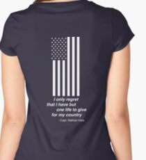 White American Flag, I only regret that I have but one life to give for my country Nathan Hale Women's Fitted Scoop T-Shirt