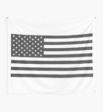 American Flag, Cut Out, Gray Wall Tapestry