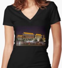 China. Xian. Ancient City Wall.  Women's Fitted V-Neck T-Shirt