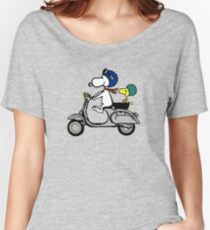 Snoopy and Woodstock on a Vespa Women's Relaxed Fit T-Shirt