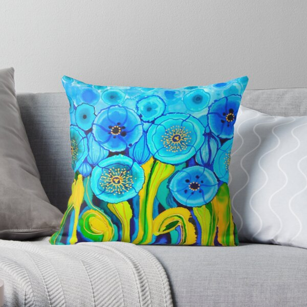 Blue Poppies 7 Belize Throw Pillow
