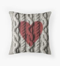 Warm and fuzzy cable knit looking art Throw Pillow