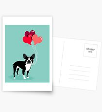Boston Terrier Valentines Love Balloons gifts for dog lovers pet owners dog breeds customizable Postcards