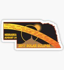 2017 Solar Eclipse Across Nebraska Cities Map Illustration Sticker