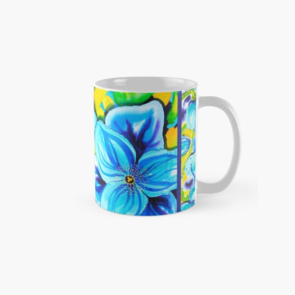 Blue Poppies 4 with Border Classic Mug