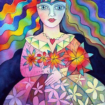 Flower girl with rainbow hair by karincharlotte