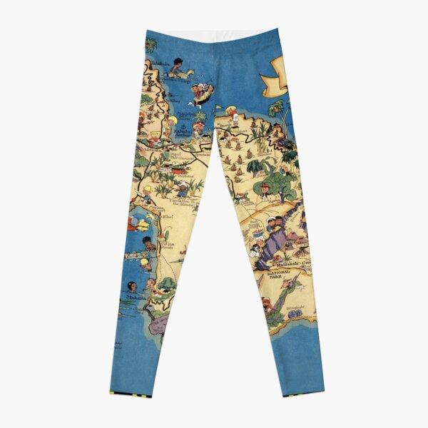 Vintage 1935 Maui island map - Hawaii map - fashion gift ideas for birthday - Christmas gift - Memorial day gift Leggings