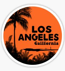 SURFING LOS ANGELES CALIFORNIA RETRO PALMS SURFER BEACH Sticker