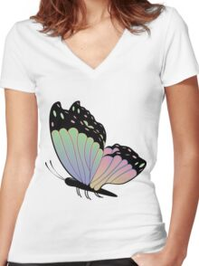 Cartoon Butterfly Women's Fitted V-Neck T-Shirt