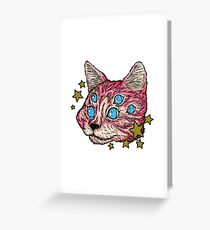 Pink Star Cat Greeting Card