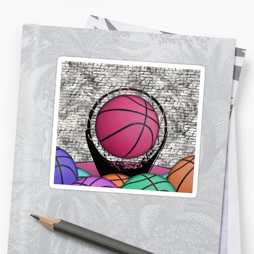 Colorful Basketballs Urban Grunge Hoop Sticker