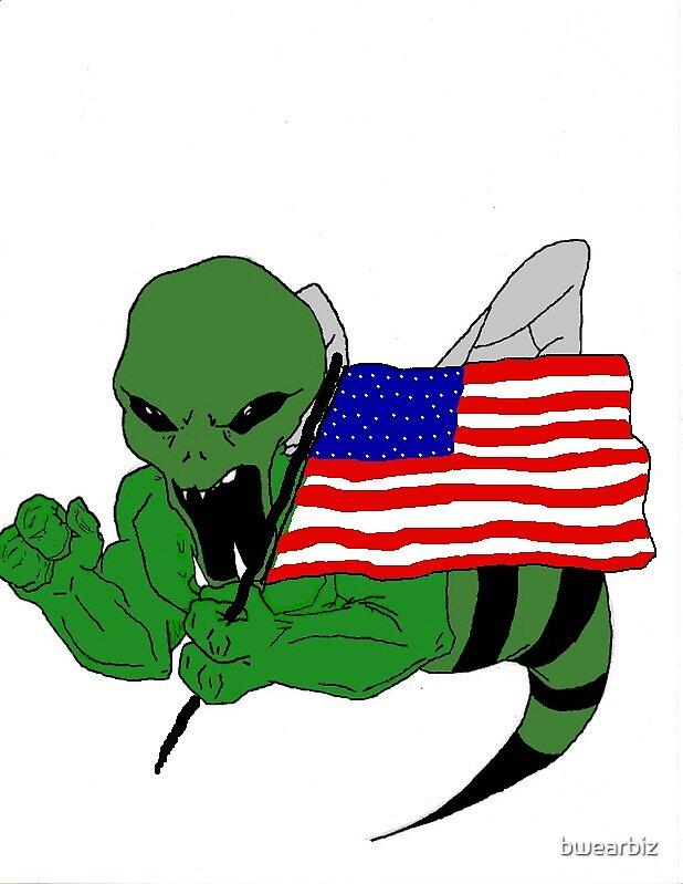 "Alien ""B"" Massive Attack showing his Patriotic side! by bwearbiz"
