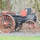 vintage Vernonia Christmas old fashioned steam tractor by Dawna Morton