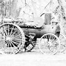 vintage Vernonia Christmas old fashioned steam tractor black and white by Dawna Morton