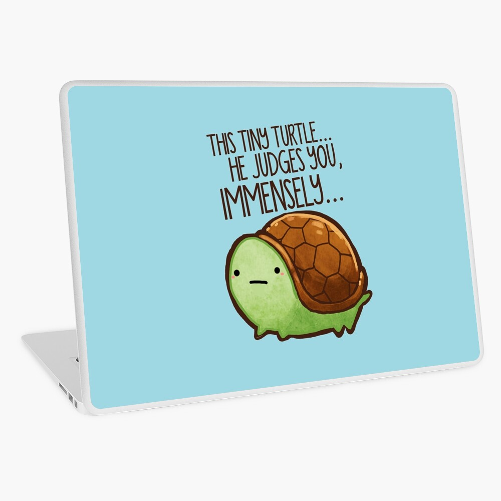 This turtle.. he judges you. Laptop Skin