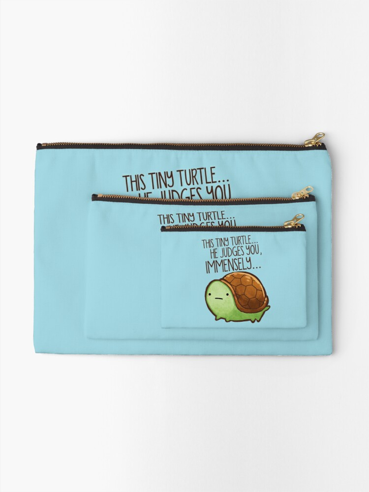 Alternate view of This turtle.. he judges you. Zipper Pouch