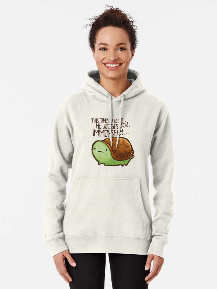 Alternate view of This turtle.. he judges you. Pullover Hoodie