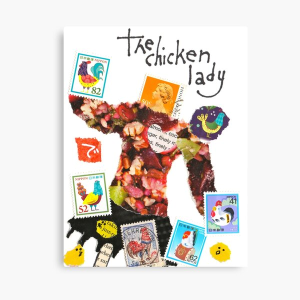 Stamp People Series (The Chicken Lady) Canvas Print