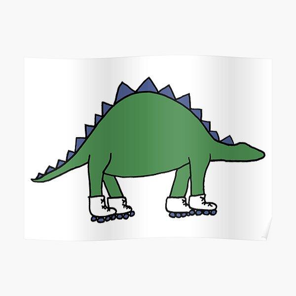 Roller Skating Stegosaurus  Poster