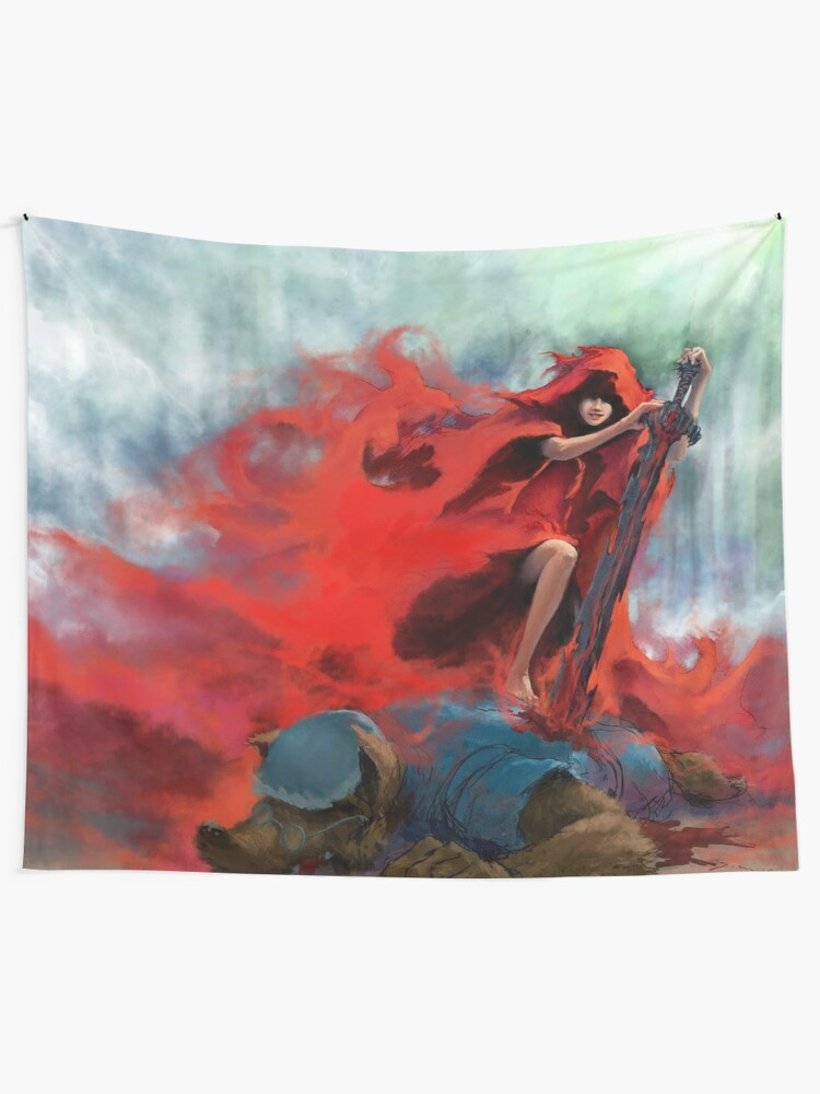 Modern Little Red Riding Hood Killing Wulf Wall Tapestry