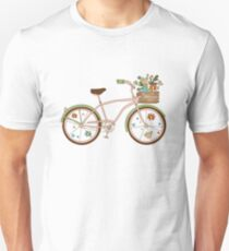Retro bicycle with karzinkoy for flowers T-Shirt