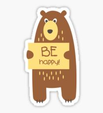 Cute bear with a sign for text Sticker