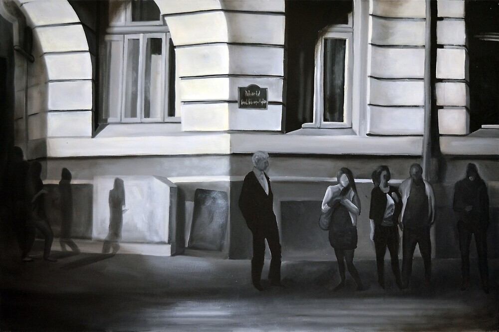 Waiting at the stop sign, 2012, 120-80cm, oil on canvas by oanaunciuleanu